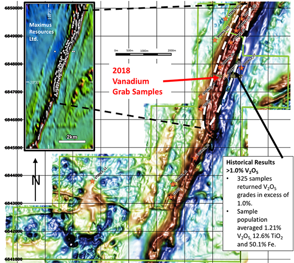 Figure 1: Canegrass Property - High Resolution Airborne Magnetics and Maximus Resources Sampling Grid Inset:
