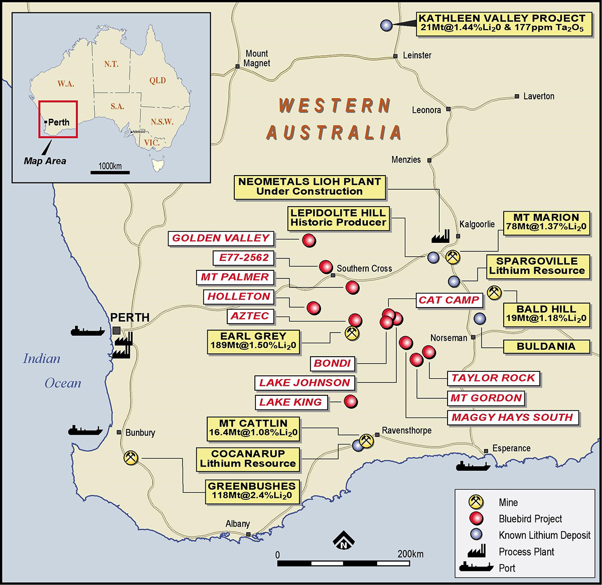 Location Plan of Southern Lithium Portfolio in Western Australia