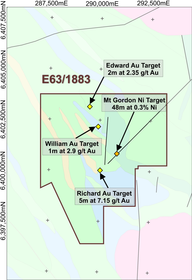 Mt Gordon Project Geology, Gold/Nickel Targets